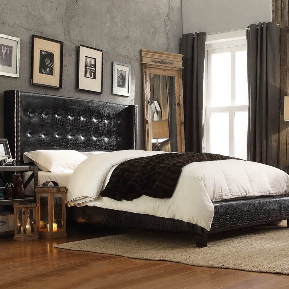 Inspire Q Marion Faux Alligator Leather Nailhead Wingback Tufted Upholstered Bed at Sears.com