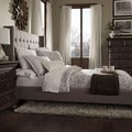 INSPIRE Q Marion Dark Gray Linen Nailhead Wingback Tufted King-sized Bed