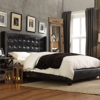 INSPIRE Q Marion Faux Alligator Leather Nailhead Wingback Tufted King-sized Platform Bed