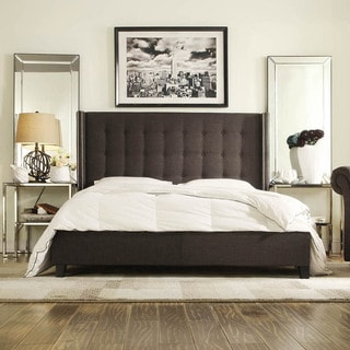INSPIRE Q Marion Dark Gray Linen Nailhead Wingback Tufted King-sized Platform Bed