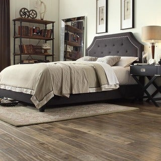 INSPIRE Q Grace Dark Grey Linen Button Tufted Arched Bridge Upholstered Bed