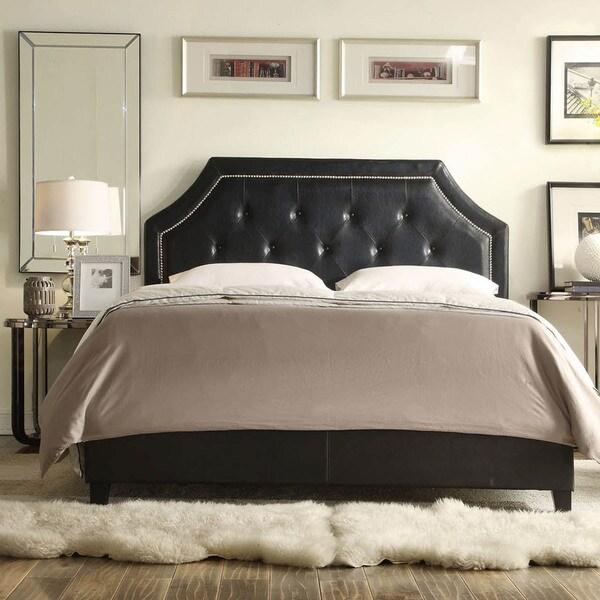 Black Leather Tufted Platform Bed 600 x 600