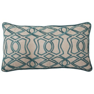 Kosas Home Lalia Teal Embroidered Feather and Down Filled Throw Pillow