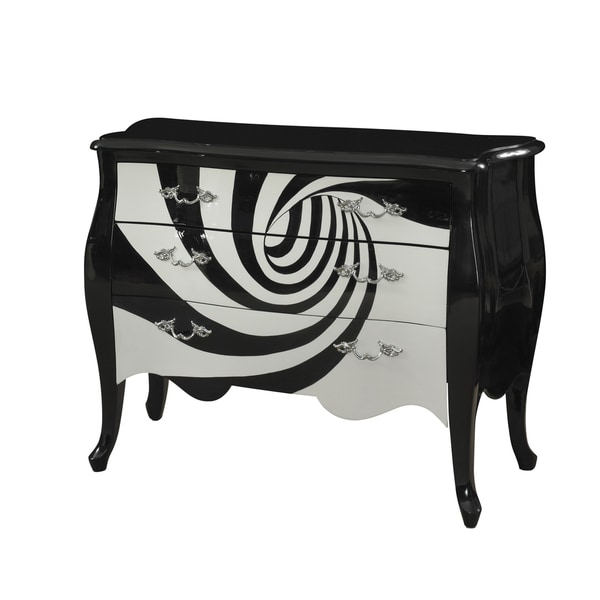 Oh! Home Retro Roselyn White and Black Swirl Chest