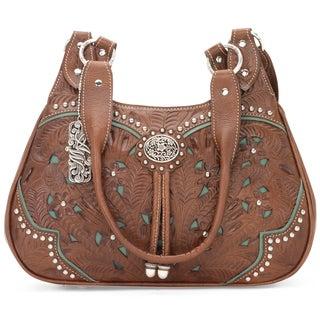 American West Antique Brown/Turquoise Zip-top scoop Tote Bag