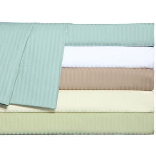 Grand Luxe Main Street Dobby Stripe Egyptian Cotton 310 Thread Count Sateen Deep Pocket Sheet Set