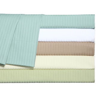 Grand Luxe Main Street Dobby Stripe 310 Thread Count Egyptian Cotton Sateen Deep Pocket Sheet Set