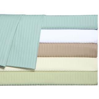 Grand Luxe Main Street Dobby Stripe 310 Thread Count Egyptian Cotton Sateen Deep Pocket Sheet Set