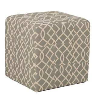 Cortesi Home Grey Tufted Cube Ottoman in Linen Fabric