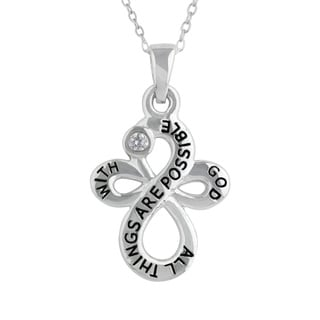 Sunstone 'With God' Sterling Silver Cubic Zirconia Cross Necklace in Gift Box
