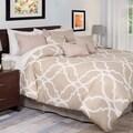 Lavish Home 7-piece White and Tan Trellis Comforter Set