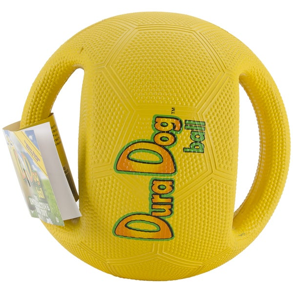 DuraDogBall Interactive Grip Ball Large-Yellow