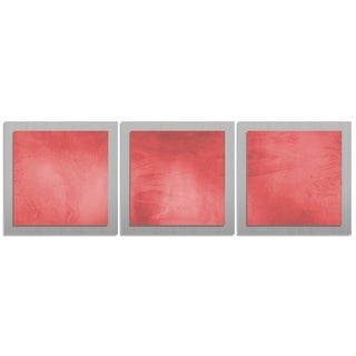 Red/ Silver Contemporary Artwork 'Red Essence' Metal Wall Art
