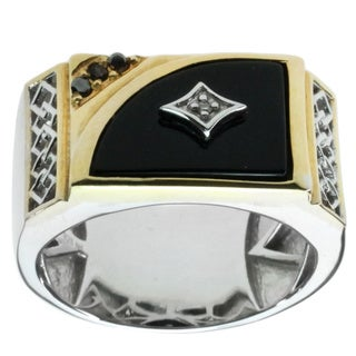 Michael Valitutti Men's Palladium Silver Onyx Diamond Accent Ring