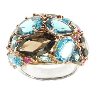 Michael Valitutti Sterling Rose Vermeil Multi-gemstone Dome Ring