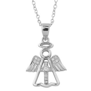 Fremada Rhodium Plated Sterling Silver and Cubic Zirconia Cross Angel Necklace