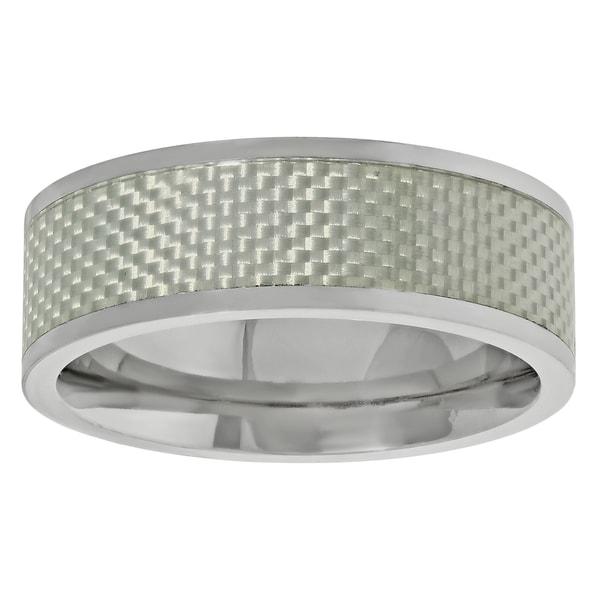 Titanium Men's Silver Carbon Fiber Inlay Band