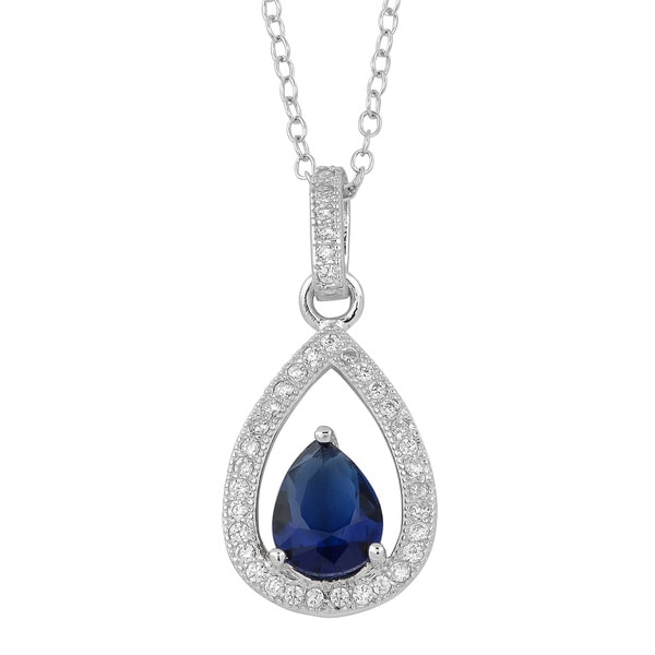 Fremada Rhodium Plated Sterling Silver Simulated Sapphire Vintage Necklace