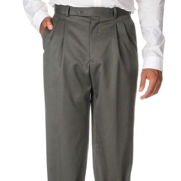 Cianni Cellini Men's Olive Wool Gabardine Pants (Olive/44W)(As Is Item)