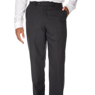 Montefino Mondo Men's 'Super 120' Merino Black Wool Pants