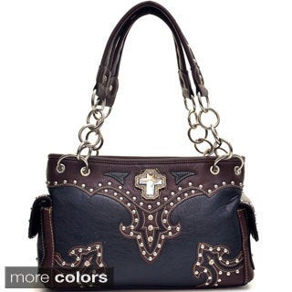 Montana West Studded Fleur Rhinestone Cross Shoulder Handbag