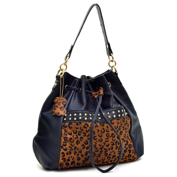 Dasein Rhinestone Studded Leopard Genuine Leather Panel Convertible Backpack