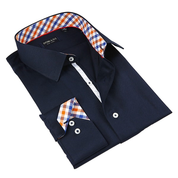 Domani Blue Luxe Men's Navy Blue Button-down Dress Shirt