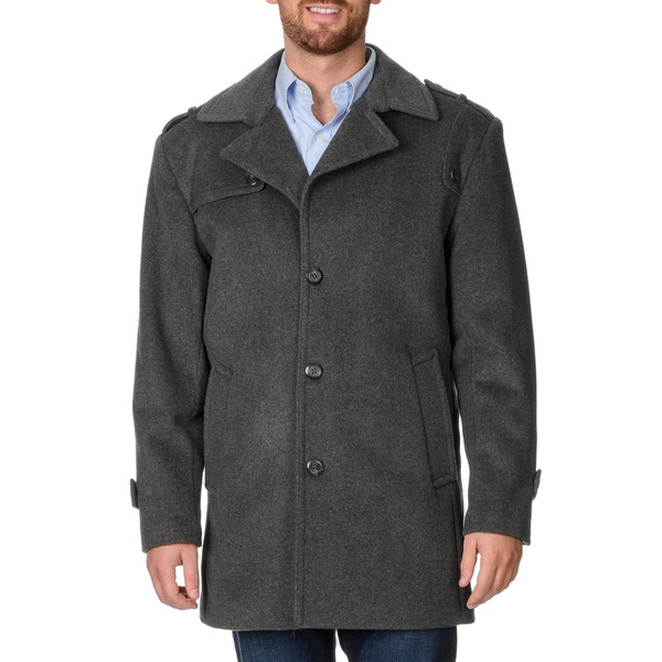 Cianni Cellini Men's 'Ralph' Grey Wool Blend Top Coat