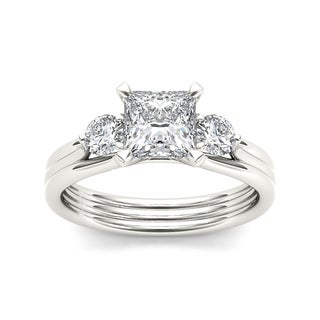 De Couer 14k White Gold 1ct TDW Diamond Three Stone Princess-cut Engagement Ring (H-I, I2) with Bonus Necklace
