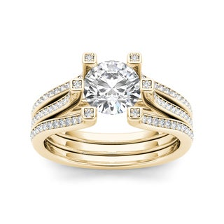 De Couer 14k Yellow Gold 1 1/2ct TDW White Diamond Engagement Ring (H-I, I2)