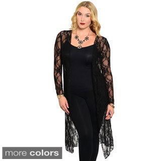 Stanzino Women's Plus-size Long-sleeve Lace Cardigan
