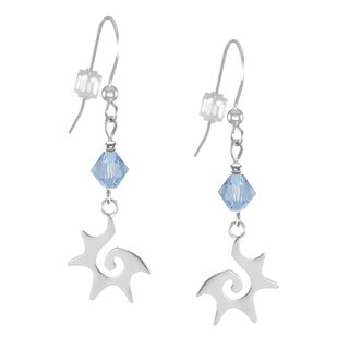 Jewelry by Dawn Blue Crystal Sterling Silver Starburst Dangle Earrings