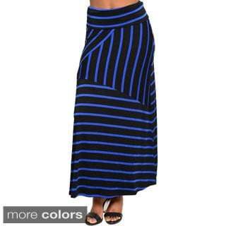 Stanzino Women's High Waisted Geometric Striped Maxi Skirt