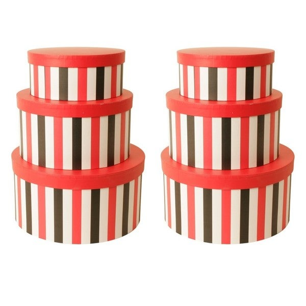 Striped 3-piece Paperboard Box Set (Pack of 2)