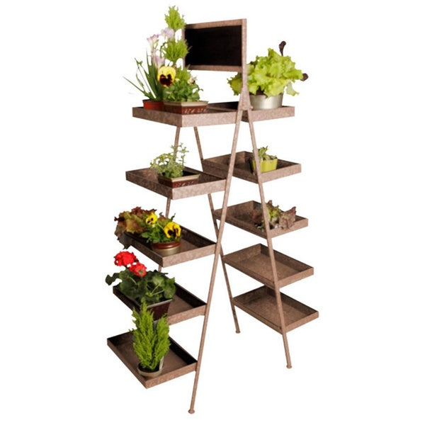 Antique Brown 5-tier Folding Ladder Display