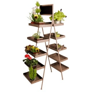 Antique Brown 5-tier Folding Ladder Display