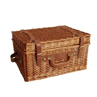 Brown 16-inch Willow Picnic Basket