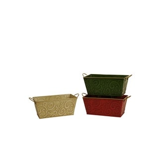 Double 4-inch Assorted Metal Planter (Set of 3)