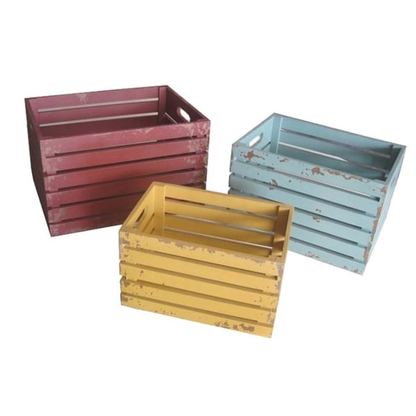 Colorful Distressed Wood Crates (Set of 3)