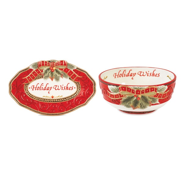 Fitz and Floyd Damask Holiday Serving Bowl and Tray Sentiment Set