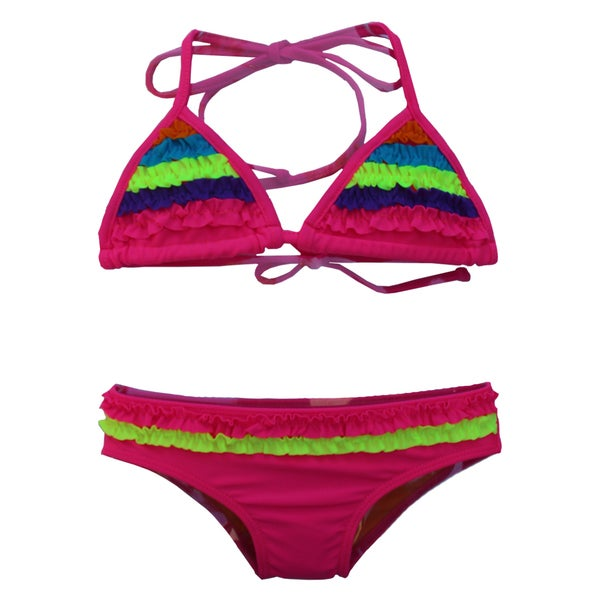 Azul Swimwear Girl's Pink Chasing Rainbows Triangle Bikini