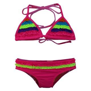 Azul Swimwear Girl's Pink Chasing Rainbows Triangle Bikini