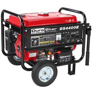 DuroStar 4400 Watt 7.0 Hp Air Cooled OHV CARB Approved Gas Generator with Electric Start and Wheel Kit