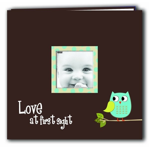 Pioneer Postbound Blue Baby Owl Printed Frame Cover Memory Book with Bonus Refill Pack (12x12)