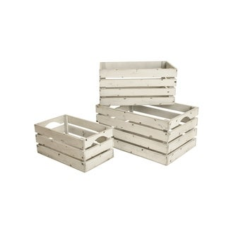 Whitewashed Distressed Storage Crates (Set of 3)
