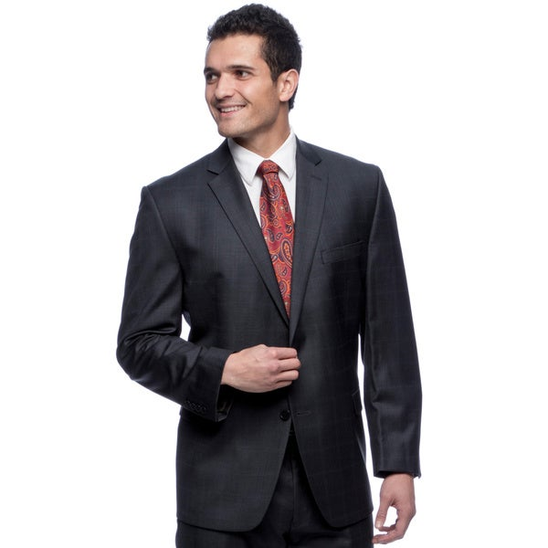 Calvin Klein Men's Square Patterned Navy Wool Suit
