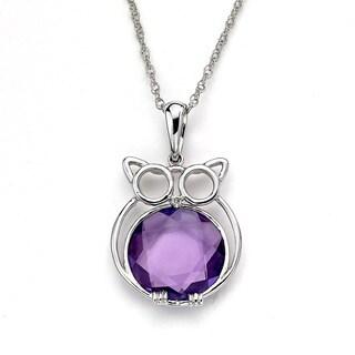 Soho Boutique by Neda Behnam 14k White Gold Amethyst Diamond Accent Owl Pendant Necklace