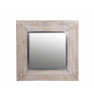 Square Whitewash Framed Mirror