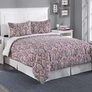 Laura Ashley Megan Paisley Gray Cotton 3-piece Duvet Cover Set