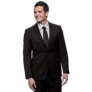 T Tahari Men's Subtle Plaid Black Wool Suit
